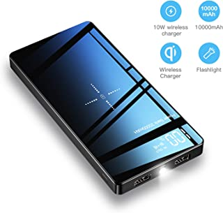 Wireless Power Bank Portable Charger 20000mAh Capacity with Flashlight Tempered Glass Panel-LED Display 10W Fast Wireless Charger 4 Outputs & 3 Inputs, QC 3.0 & PD 3.0 for for Phone (PD/QC)