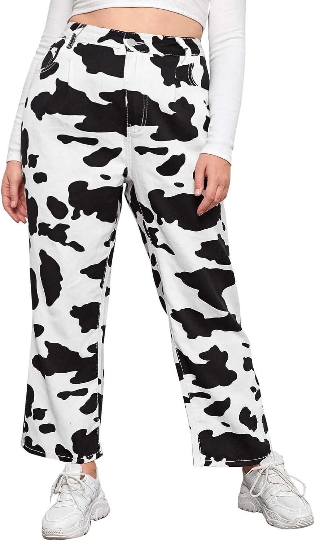 WDIRARA Women's Cow Print High Waist Wide Leg Jeans Casual Long Denim Pants