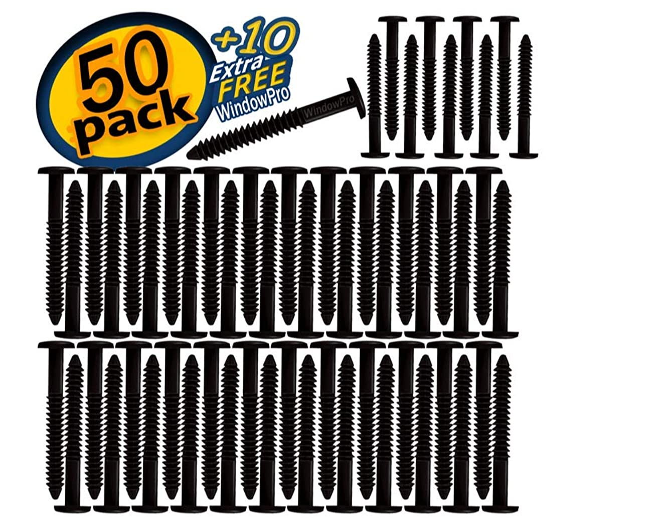 Window Shutters Panel Peg Lok Pin Screws Spikes 3 inch 60 Pack (Black) Exterior Vinyl Shutter Hardware Strongest Made in USA