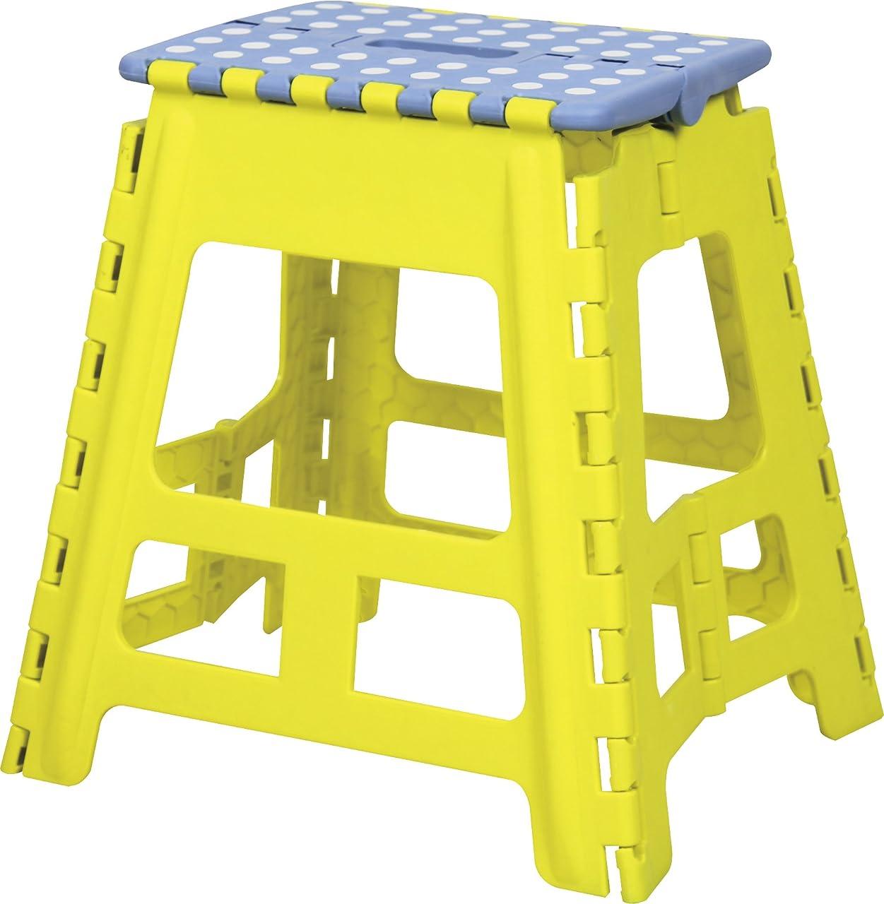 斧奨励橋脚AZUMAYA クラスタースツール 折りたたみ式踏み台 Lサイズ イエロー色 BLC-312YE
