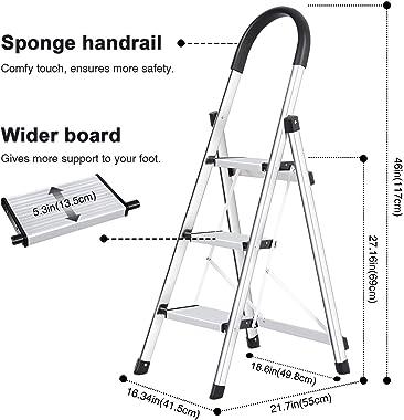 Lionladder 3 Step Ladder, Folding Step Stool with Wide Anti-Slip Pedal, 330lbs Sturdy Steel Ladder, Sponge Safety Handgrip, L