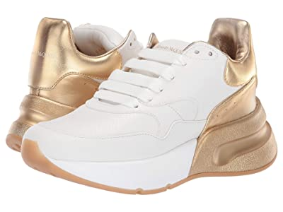 Alexander McQueen Oversized Runner Sneaker (Optic White/Gold/Optic White/Gold/White) Women