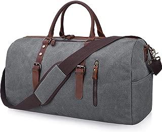 Travel Duffel Bag Large Canvas Duffle Bag for Men Women Leather Weekender Overnight Bag Carryon Weekend Bag Grey