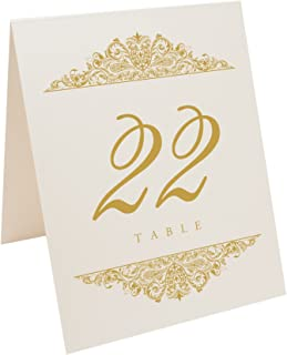 Documents and Designs Paisley Table Numbers (Select Color/Quantity), Champagne, Gold, 1-10, Perfect for a Wedding, Party, Restaurant, or Special Event