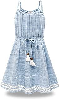 Bonny Billy Big Girls Spaghetti Straps Solid Cotton Kid Beach Dress