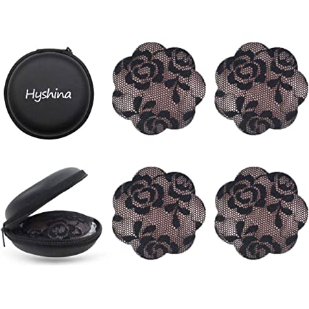 LUOEM 2 Pairs Pasties Bra Adhesive Silicone Nipple Covers Reusable Bra 2 Pair Breast Petals