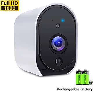 Battery Powered Camera BIZGOOD WiFi IP Camera Home Security System, Night Vision, Indoor/Outdoor Eaves, Compatible with Alexa, 2-Way Audio Talk, Free 32GB Memory Card