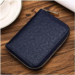 Short Mini Wallet Men's Business Convenient Zipper Hand Purse for Travel Shopping Business Casual (Color : Blue, Size : S)