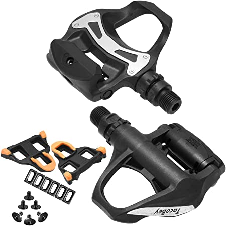 TacoBey Road Bike Pedals Cleats Set for Shimnao SPD Clipless Pedals, Lightweight Self-Locking Cycling Pedals for Shimnao 105 SM-SH System Shoes Fitness Peloton Spin Bike