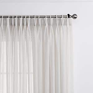 LANTIME Semi Sheer Curtains 84 inches Long, Faux Linen Double Pleated Window Sheer Curtains Panels Drapery for Home, Hotel, Office, 52