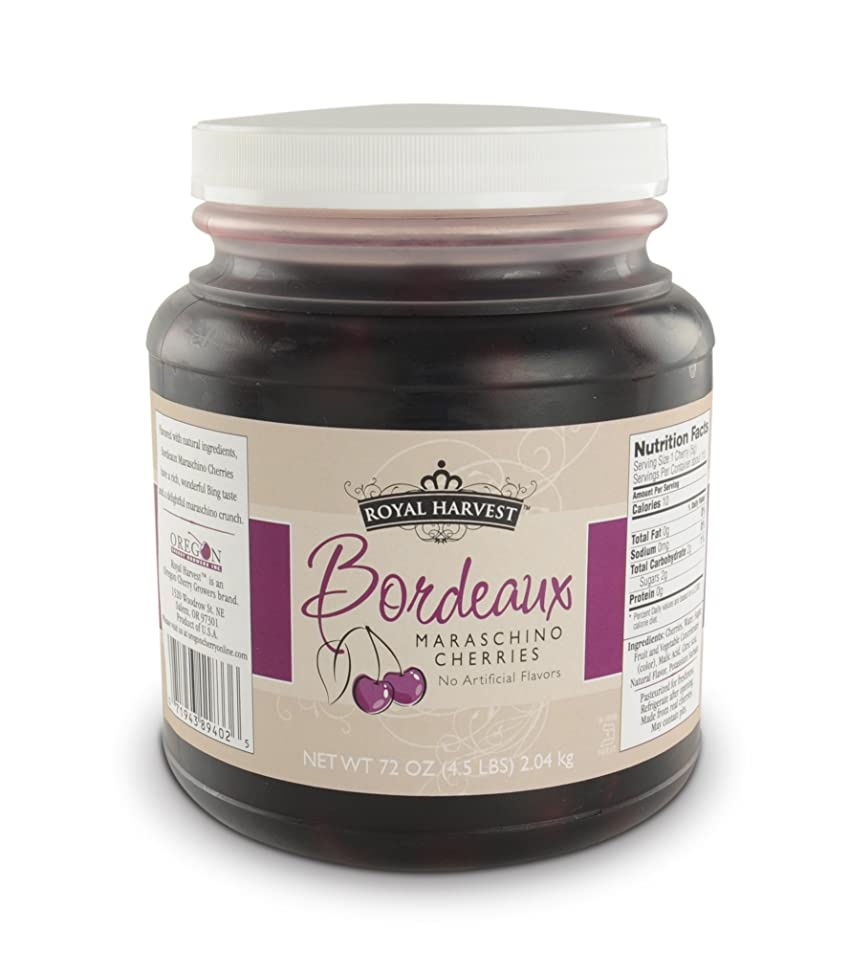 Royal Harvest Natural Bordeaux Maraschino Cherries With Stems, 72 Ounce