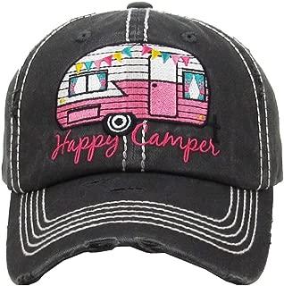 Women's Happy Camper Washed Vintage Baseball Hat Cap