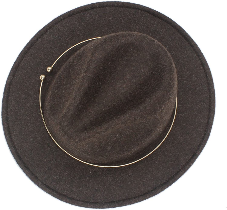100% Wool Women's Men's Chapeu Feminino Fedora Hat For Gentleman Elegant laday gold Wide Brim Jazz Church Cap Panama Top Hat 20 ( Color : 6 , Size : 57-59cm )