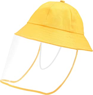 Baby Hat with Shield Bucket Sun Hat for 0-3 Years Old Baby with Transparent Bezel for Dustproof Windproof Sun Yellow