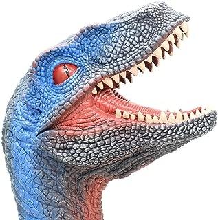 Dinosaur Hand Puppet, Soft Dino Hand Puppets for Kids Rubber Realistic Velociraptor Head
