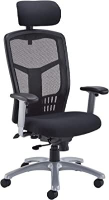 Office Hippo 24 Hour Ergonomic Office Chair with Adjustable Arms, Heavy Duty Office Chair for Desk, High Back, Fabric, Black