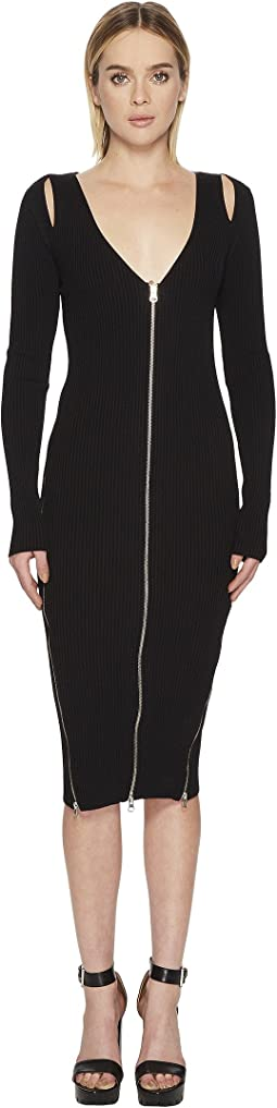 McQ - Bodycon Zip V Dress