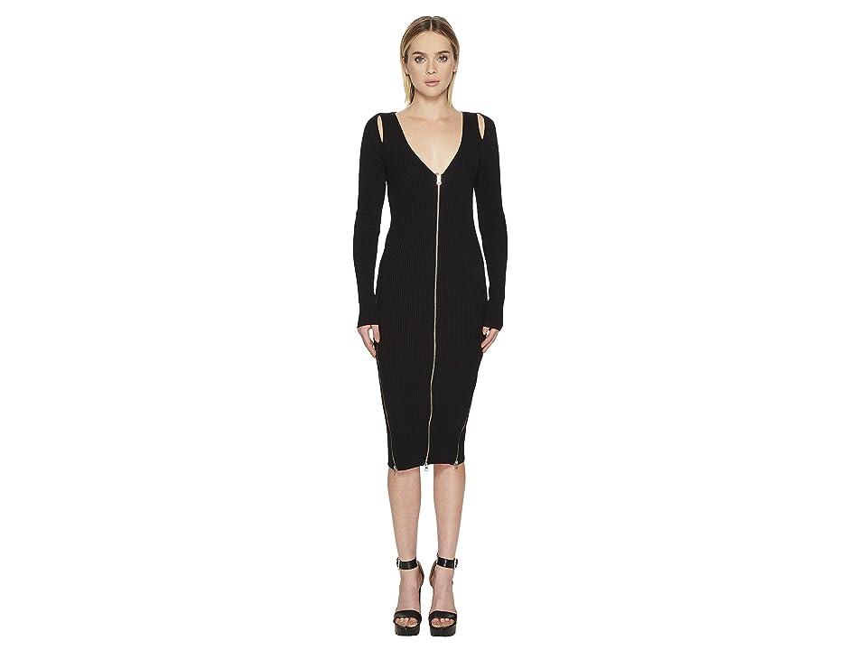 McQ Bodycon Zip V Dress (Darkest Black) Women