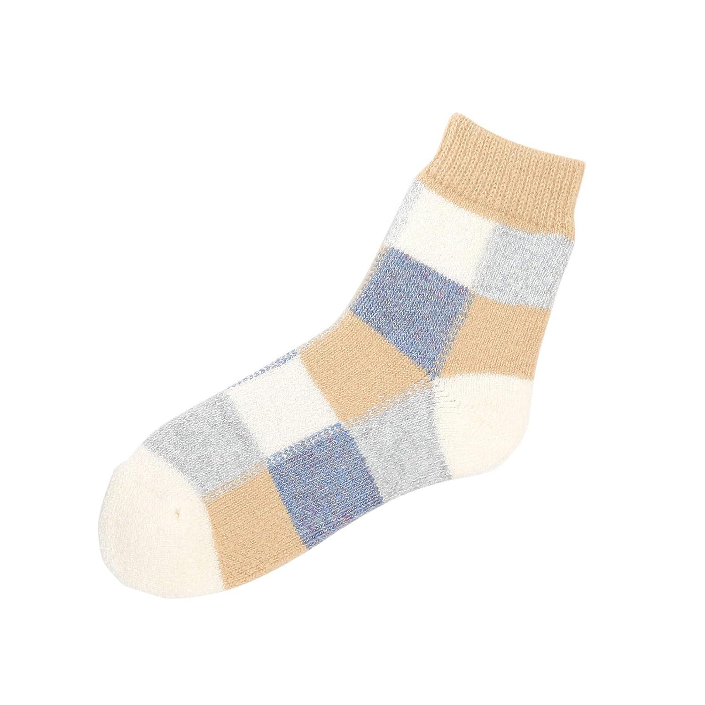 [靴下屋]クツシタヤ 異素材ブロックルームソックス 22.0~24.0cm 日本製 柄ソックス