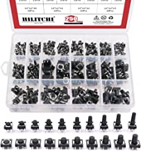 Hilitchi 250-Pcs 6 x 6mm 12 x 12mm Tactile Push Button Switch Micro Momentary Tact Assortment Kit - 20 Value / 4 Pins