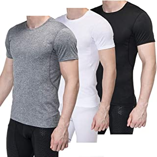Sieayd Men's 3 Pack Compression Shirt Short Sleeve Athletic Workout Sport T-Shirts Cool Dry Mesh Shirt Black Grey White