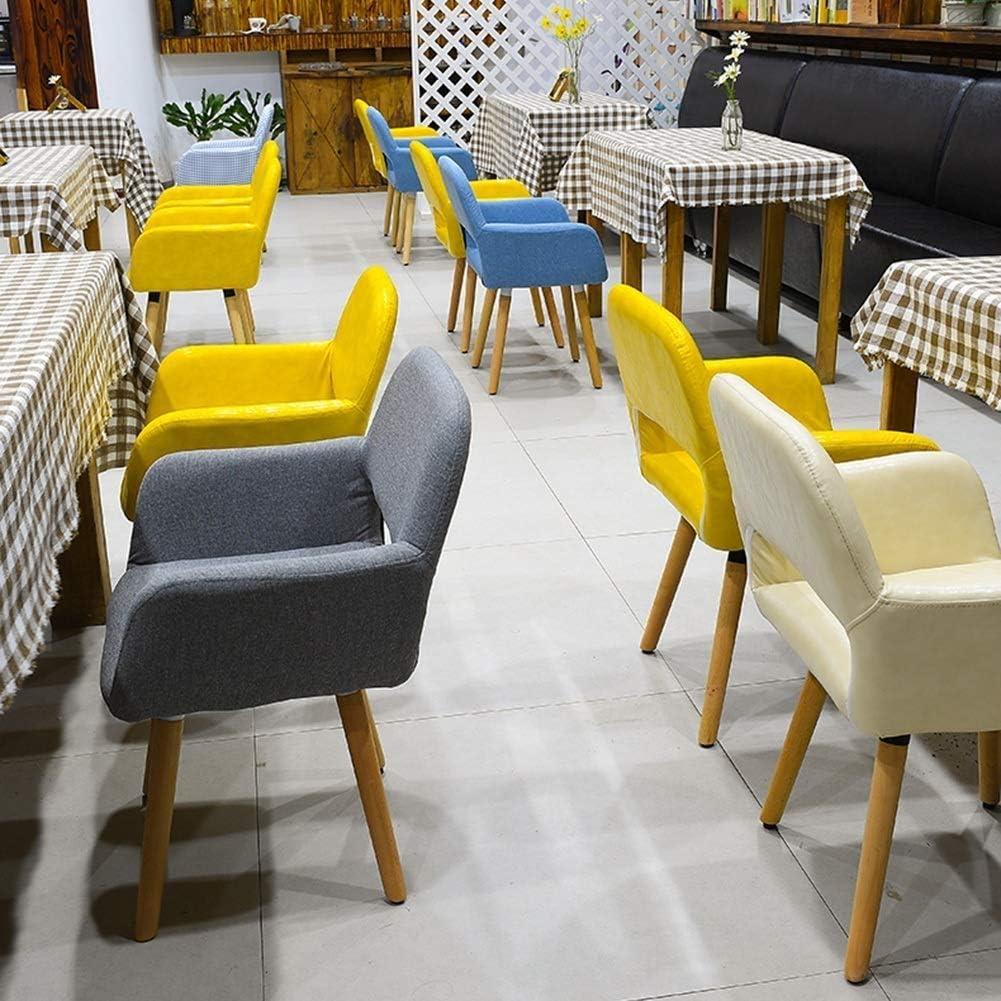 GSAGJyz Chaise de Salle à Manger Chaise de détente avec accoudoir, Jambe en Bois Massif de Lin (Color : B) H