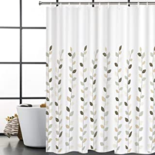 Bathroom Shower Curtain Concise Leaves Painting Art Shower Curtains with 12 Hooks, Waterproof Durable Fabric Bath Curtain Set