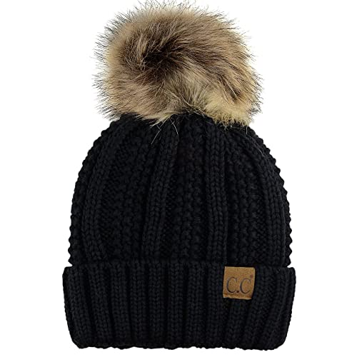 e10d56f109459 C.C Thick Cable Knit Faux Fuzzy Fur Pom Fleece Lined Skull Cap Cuff Beanie