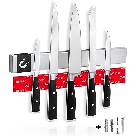 Cucino Porte Couteaux de Cuisine magnétique avec Aimant Extra Fort - Installation Facile avec la Bande adhésive 3M, Aimant Couteau Mural en Acier Inoxydable - 40cm