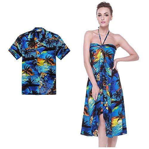 e1f185a27038a Couple Matching Hawaiian Luau Party Outfit Set Shirt Dress in Sunset Blue