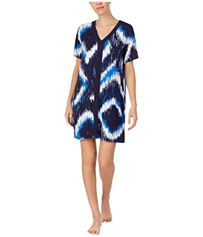Donna Karan Modal Spandex Jersey Sleepshirt (Ink Diamond Ikat) Women