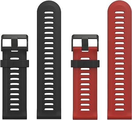 MoKo Pulsera Compatible con Garmin Fenix 3/3 HR/Fenix 5X/5X Plus/D2 Delta PX, [2 Pzs] Correa Pulsera de Silicona Respirable y Reemplazable, Banda de Reloj Deportivo con Cierre - Negro & Rojo Oscuro