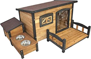 PETJOINT Medium Dog Kennel + Patio + Storage Box + Food Bowls | Wooden Pet Puppy House Timber Home Indoor Outdoor