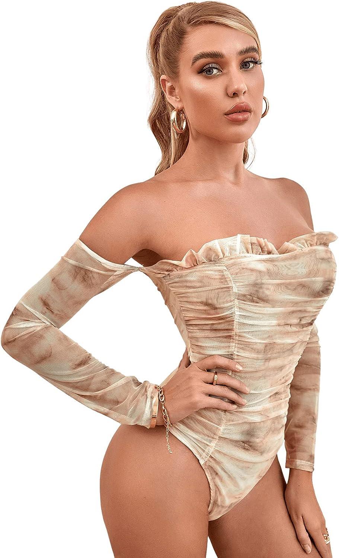 Floerns Women's Tie Dye Off Shoulder Mesh Long Sleeve Frill Trim Bodysuit Tops