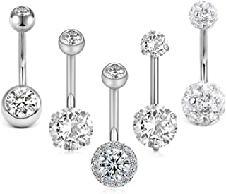 Crdifu 5pcs Anello di Ombelico in Acciaio Inox Set 14 Gauge 10mm Barbell Ombelico Bar Piercing Gioielli