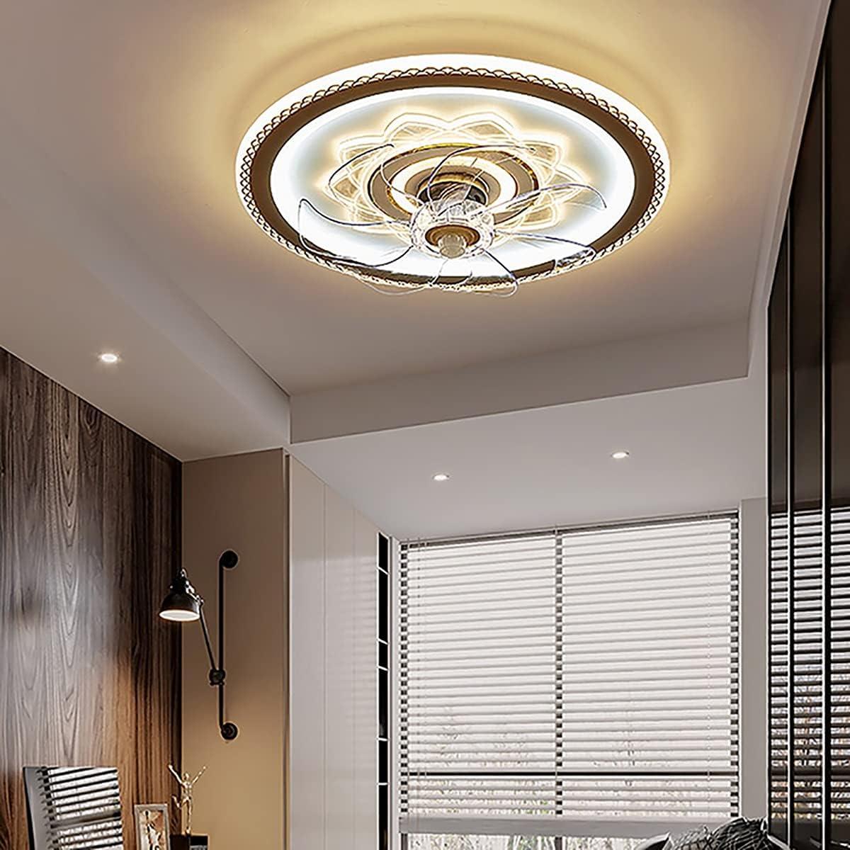 HSLY Moderno Ventilador de Techo con LED Iluminación Silencioso Ventilador de Techo con Luz con Mando a Distancia Regulable Velocidad del Viento Ajustable Fan Lámpara para Sala de Estar Dormitorio Coc