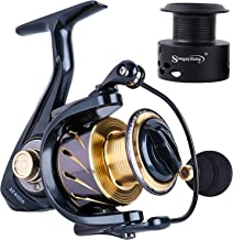 Sougayilang Spinning Reels Fishing Reel with 13 +1 Corrosion Resistant Ball Bearings, W-Ship Gearing, Silent Drive, SXS Braking System and Free Spare Graphite Spool for Anglers