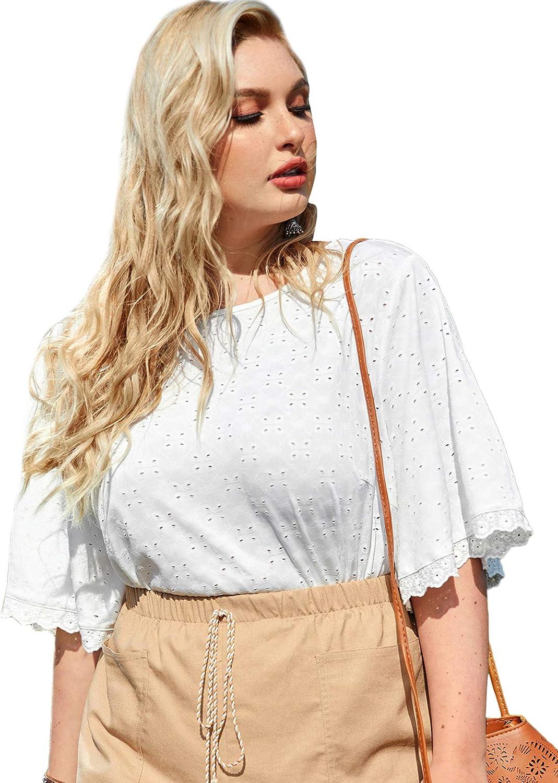 SheIn Women's Plus Size Ruffle Half Sleeve Eyelet T Shirt Round Neck Solid Tee Top