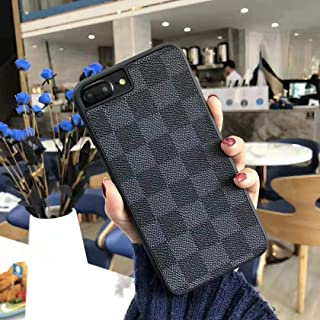 iPhone7/8 Plus - New Elegant Luxury Designer PU Leather Classic Monogram Style Protective Case Cover Anti Scratch Drop Protection for Apple iPhone 7PLUS 8PLUS (Checker Black)