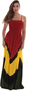 Rasta Maxi Summer Dress for Women Long Sundress with Removable Straps