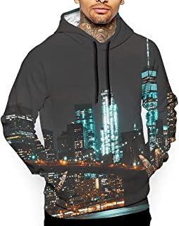 Modern New York City 3D All Printed Mens Hooded Pullover with Pocket Casual Hoodies Sweatshirt