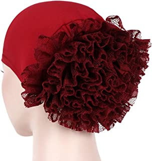 19f7071940e YJYDADA Women Floral India Hat Muslim Ruffle Cancer Chemo Beanie Scarf  Turban Wrap Cap (Wine