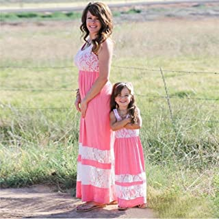 WensLTD Family Matching Clothing Mom&Me Lace Stripe Stitching Dress Casual Family Clothes