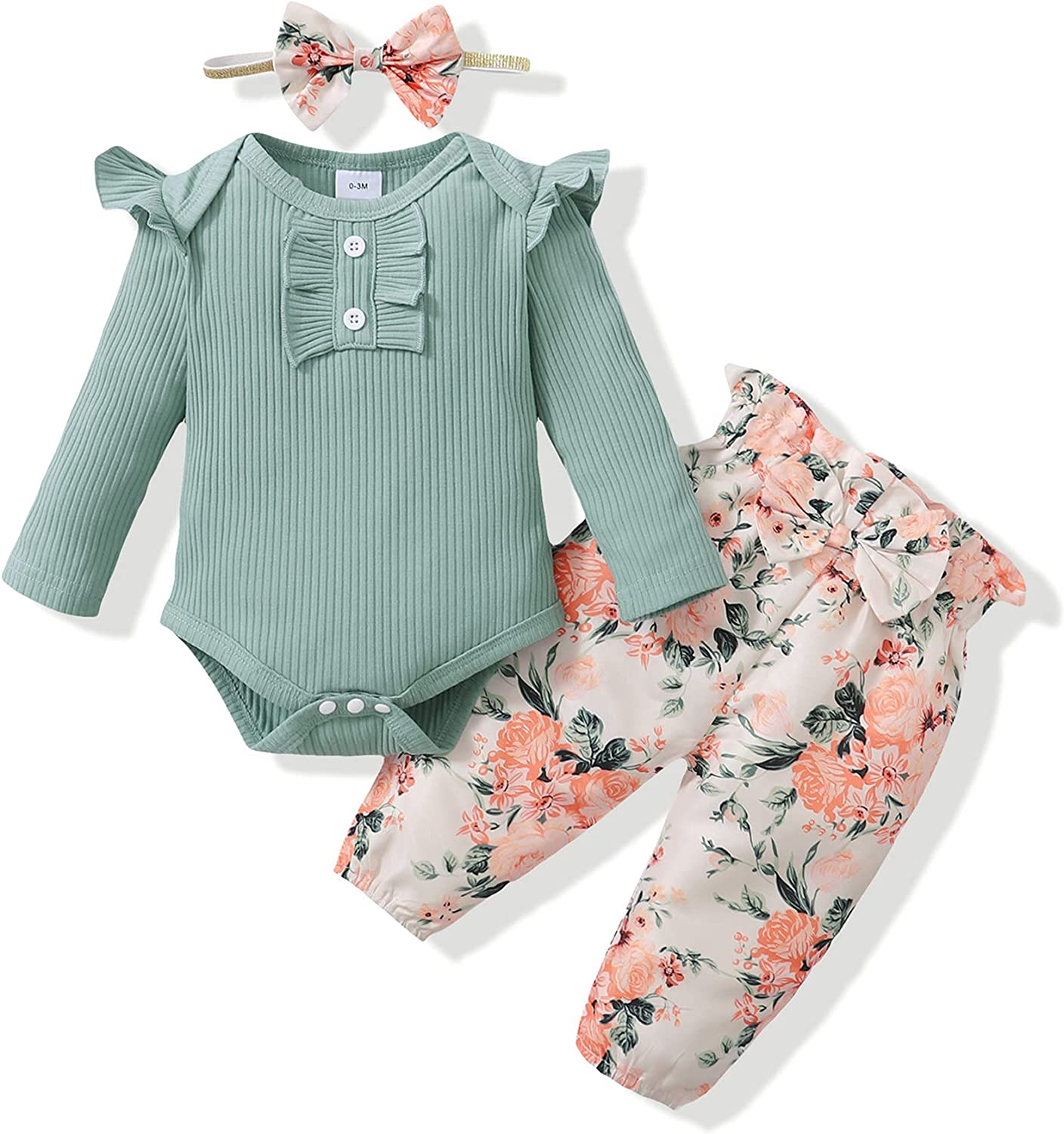 Newborn Infant Baby Girl Clothes Romper Onesie Pants Set Floral Outfits Cotton Baby Clothes for Girls