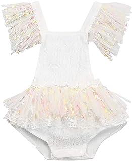 Loalirando Neugeborenes Baby Mädchen Spitzen Strampler Langarm Body Einteiler Sommer Prinzessin Body