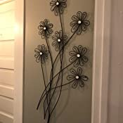 Bellaa 27574 Metal Wall Art Flowers Decor 41 inch Abstract Modern Sculpture Contemporary Home Decor Office Living Room