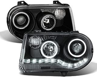ACANII - For Black 2005-2010 Chrysler 300C LED Halo Projector Headlights Headlamps Driver + Passenger Side