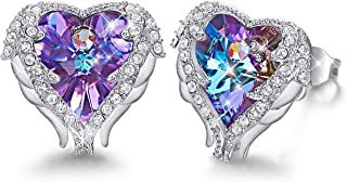 Angel Wing Earrings for Women Embellished with Crystals from Swarovski Stud Earring 18K White Gold Plated Jewelry Gift for Girl