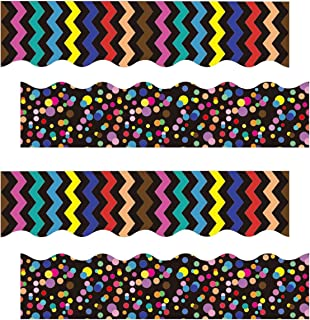 Bulletin Borders Stickers, Scalloped Border Decoration Back-to-School Decoration Borders for Blackboard, Bulletin Board, Chalkboard, Whiteboard Trim, Classroom and School Decoration, 80 Ft, 2 Styles