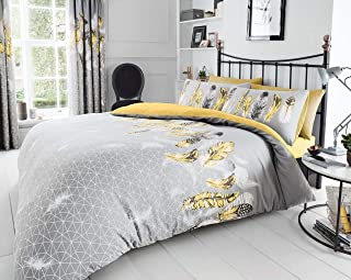 Gaveno Cavailia Luxurious Feathers Bed Set with Duvet Cover and Pillow Cases, Polyester-Cotton, Yellow, Double